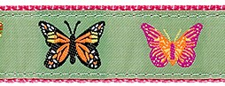 044 Butterflies Lt Green Ribbon