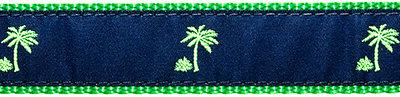 136 Navy Palm Tree Ribbon