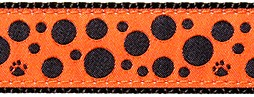 241 Black Polka Dots Orange Ribbon