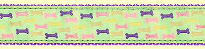 360 GreenMulti Dog Bones Ribbon