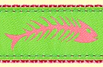 384 PinkGreen Fishbones Ribbon