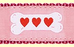388 Pink Heart Bones Ribbon