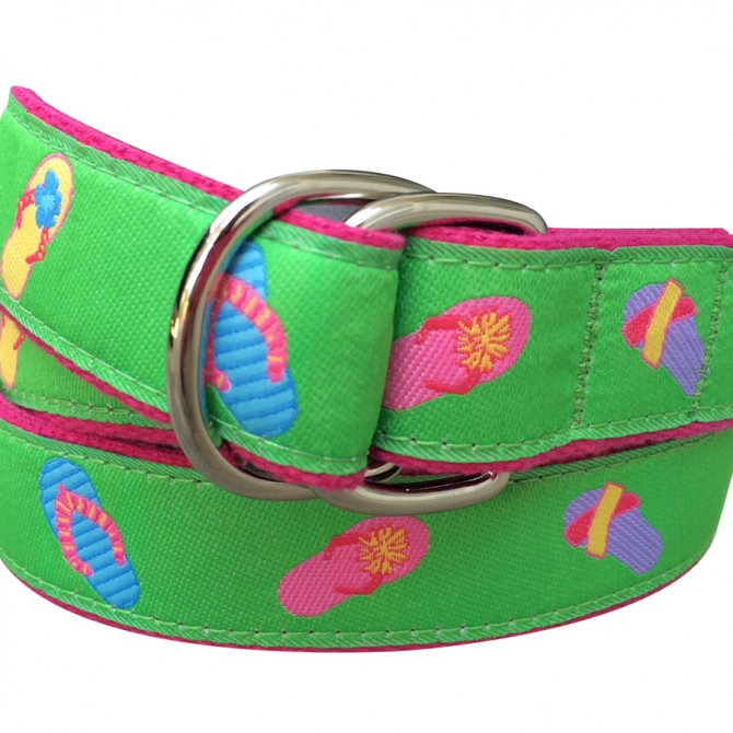 Green Flip Flop Double Ring Belt