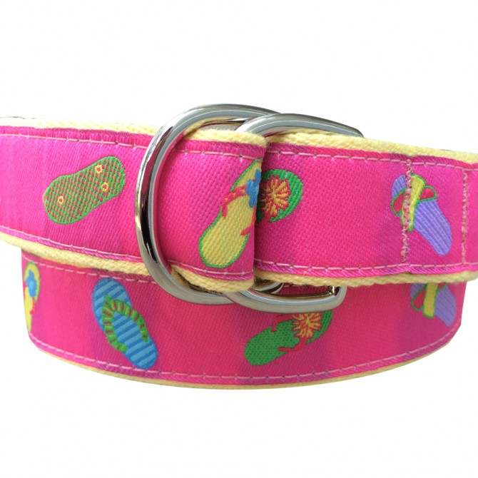 Pink Flip Flop Double Ring Belt