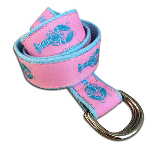 Blue Cotton Pink Lobster Double Ring Belt | Preston