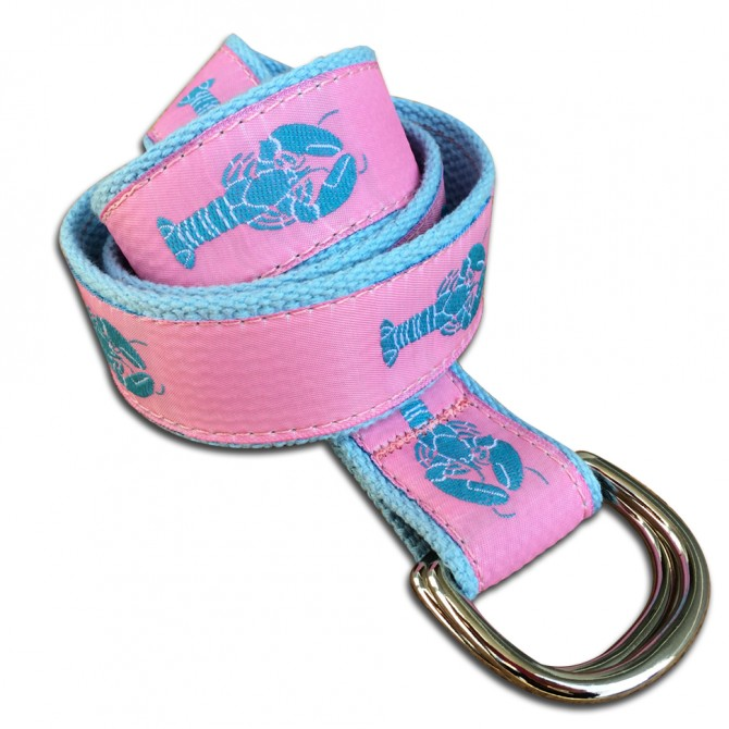 Blue Cotton Pink Lobster Double Ring Belt