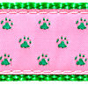 086 Green Paws on Pink Ribbon
