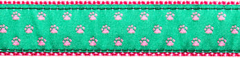 086 Pink Paws on Green Ribbon