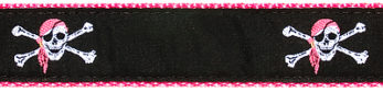 258 Pink Skull Crossbones Ribbon by Preston
