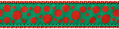 240 Red Polka Paws on Green