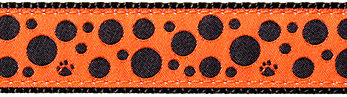 241 Black Polka Paws on Orange