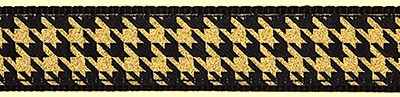 374 Black and Gold Metallic Houndstooth